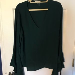 1. state dark green blouse with bell sleeves